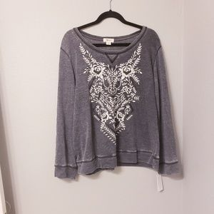 Style & co charcoal gray embroidered sweatshirt